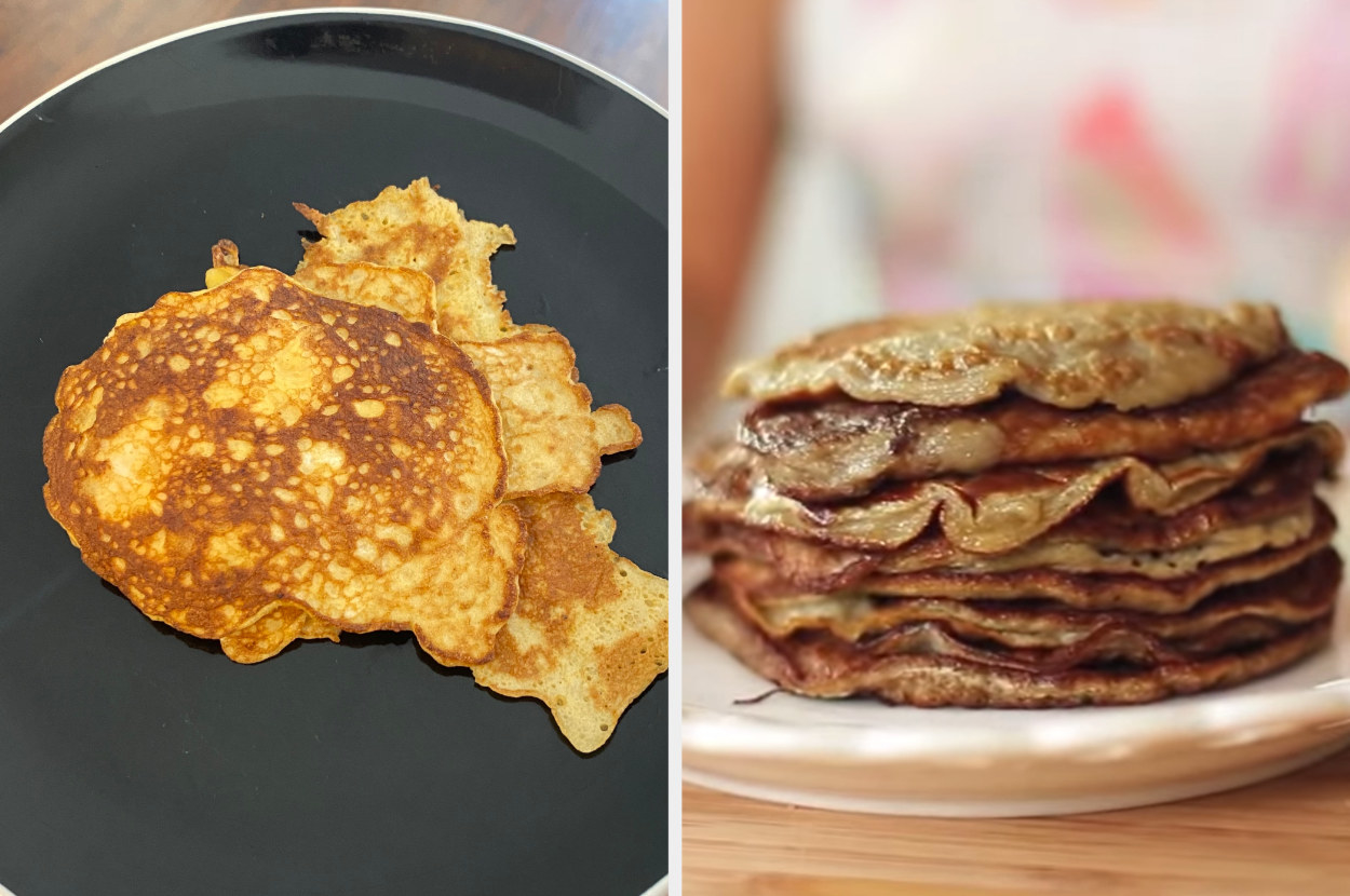 My pancakes, all very weird shapes, side by side with Blogilates' pancakes, perfectly round and much more appetizing