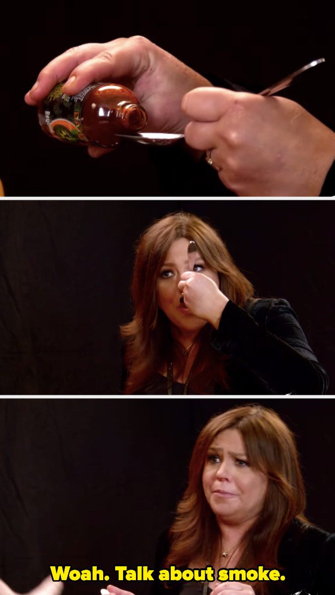 Rachael Ray eating a spoonful of hot sauce