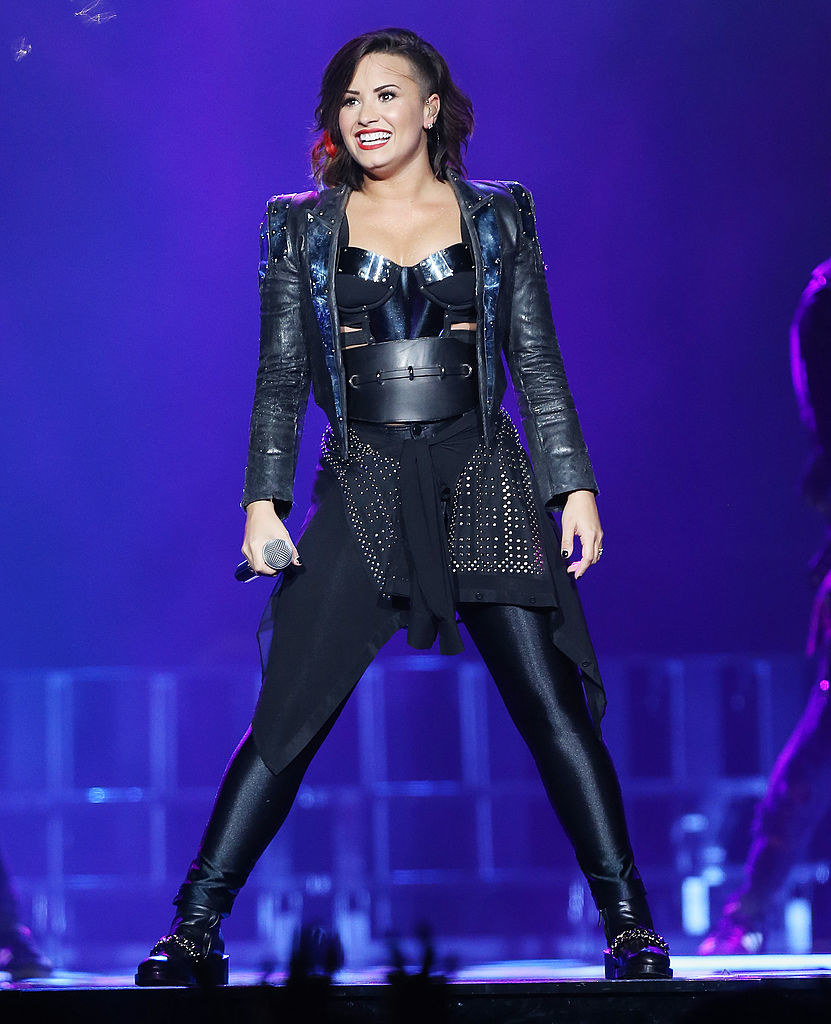 Demi Lovato performs onstage during her DEMI World Tour held at Staples Center