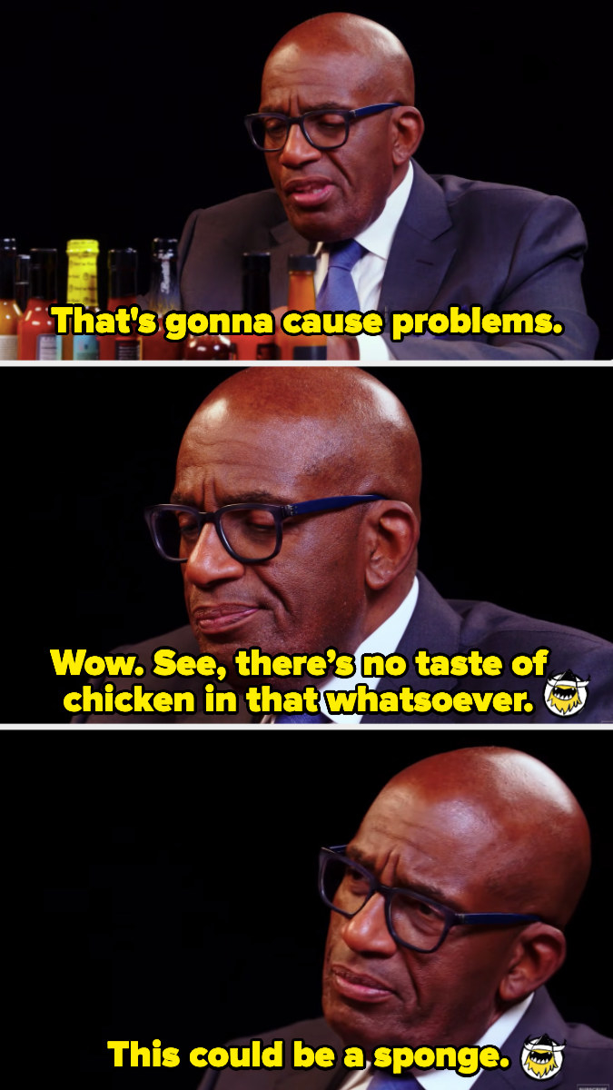 Al Roker saying the chicken wing might as well be a sponge because the chicken had no taste