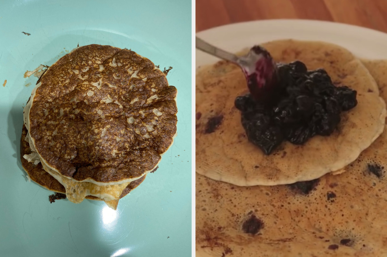 My pancakes, thick, round, and a little burnt, side by side with Mad's pancakes, thinner and lighter