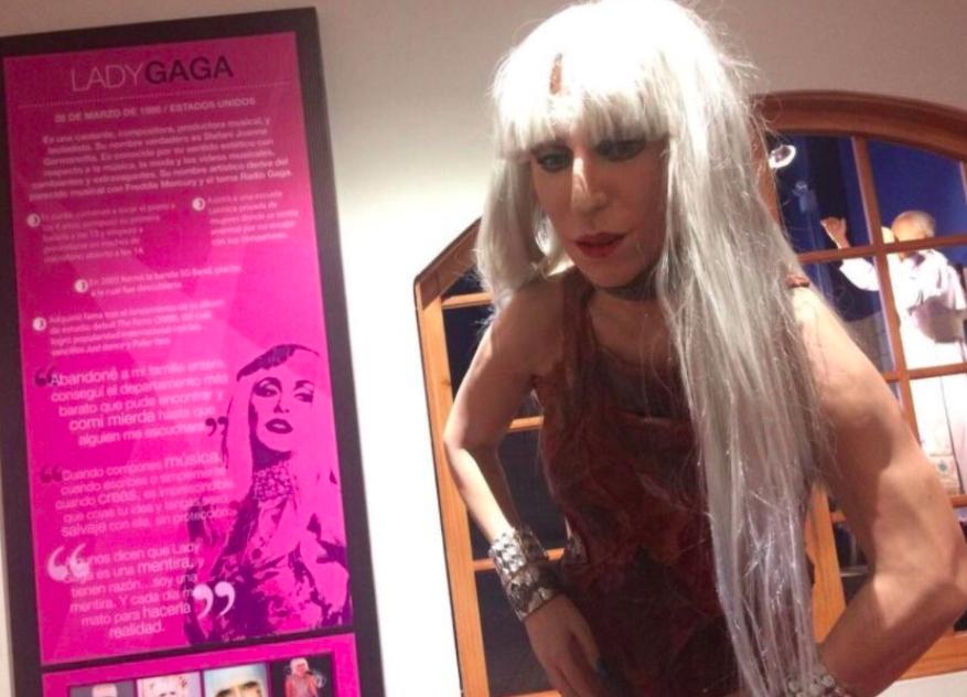 Lady Gaga wax figure in a meat dress