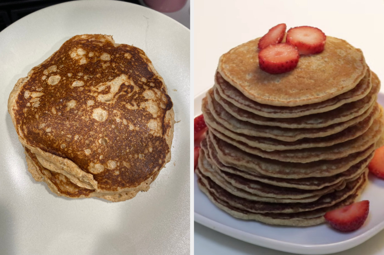 My pancakes, crispy and thick, side by side with Emi Wong's pancakes, which are lighter and thinner