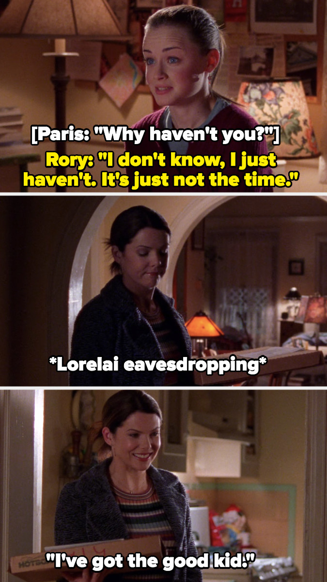 """Rory tells Paris she hasn't had sex, Lorelai eavesdrops and mouths to herself """"I've got the good kid"""""""