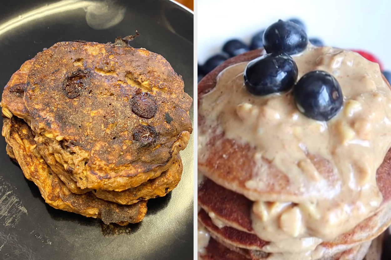 My pancakes, brown and a little irregular, side-by-side with Linda Sun's pancakes, much lighter, thinner, and with rounder shape