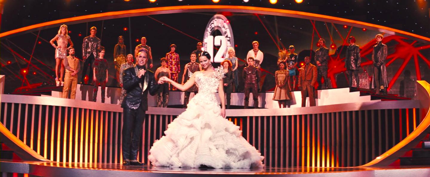 Katniss in an elaborate wedding dress