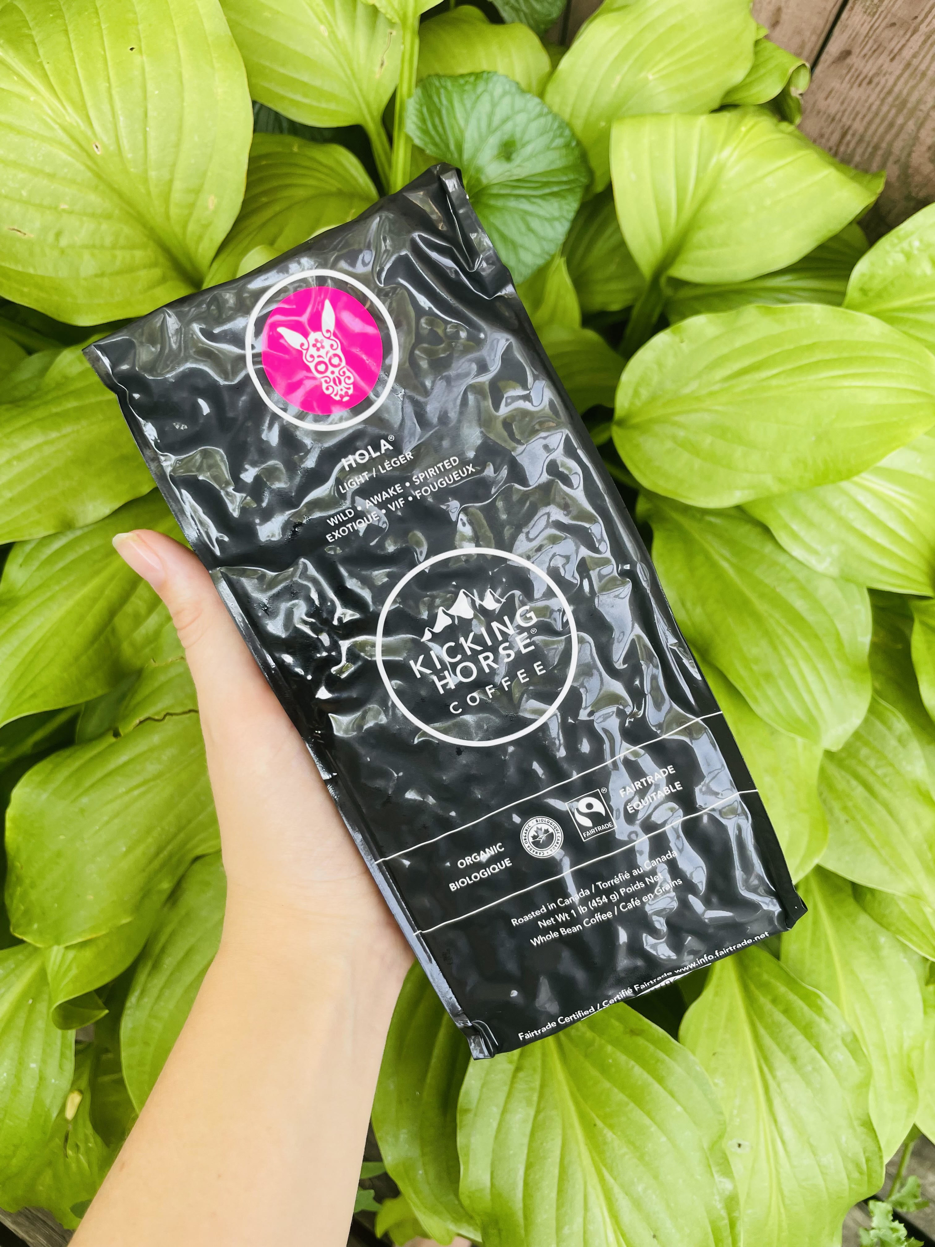 A person holding a bag of coffee in front of a plant