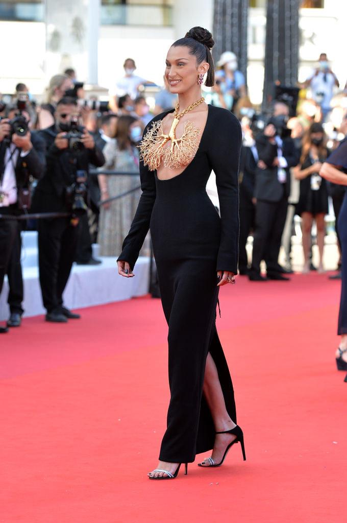 Bella Hadid walking down the red carpet