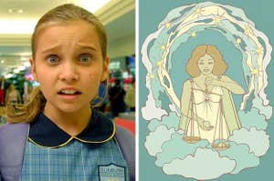 Left: Taylor from Mortified with a confused expression on her face; Right: A woman balancing scales to represent the Libra star sign