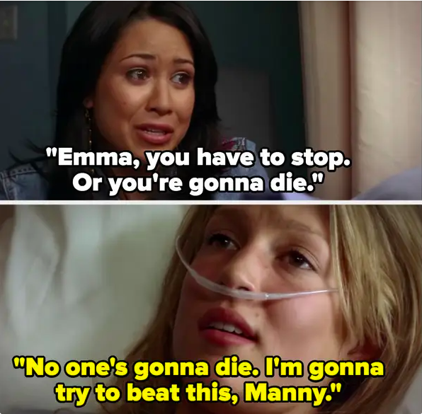 """Manny pleads with Emma to stop, Emma: """"No one's gonna die, I'm gonna try to beat this Manny"""""""