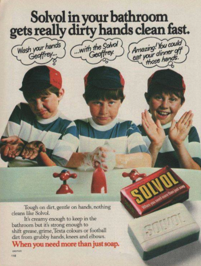 An old advertisement for Solvol soap showing a young boy washing his hands