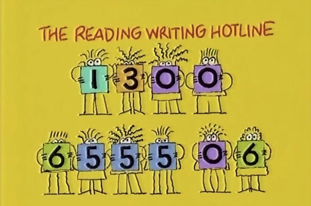 Cartoon people holding up coloured squares with numbers on them; together they make up the number for The Reading Writing Hotline