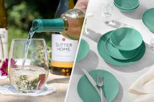 stemless wine glass with white wine being poured into it, a teal dinner set on a dining table