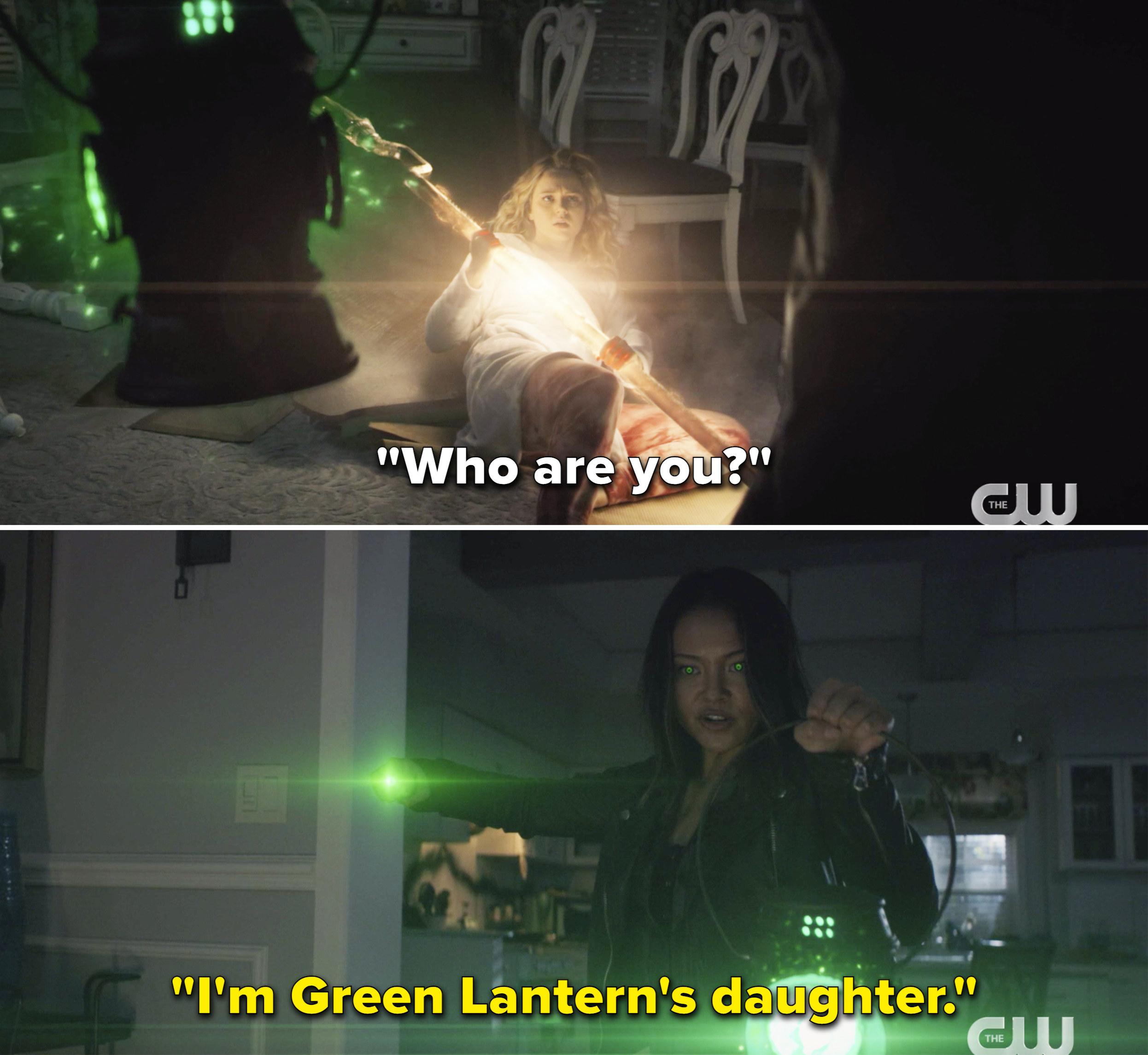 """Jennie saying, """"I'm Green Lantern's daughter"""""""