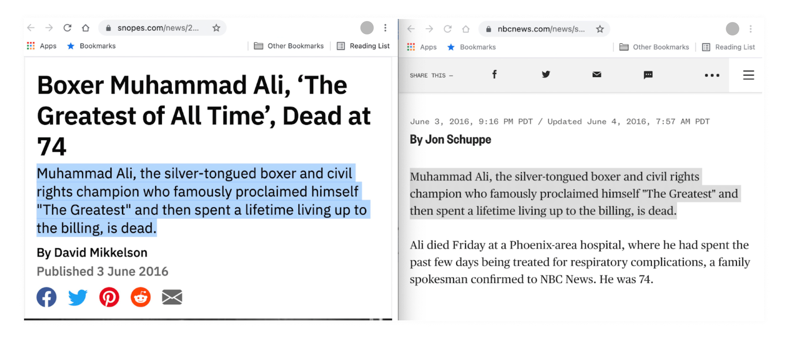 A side-by-side comparison of a Snopes story and one from NBC News