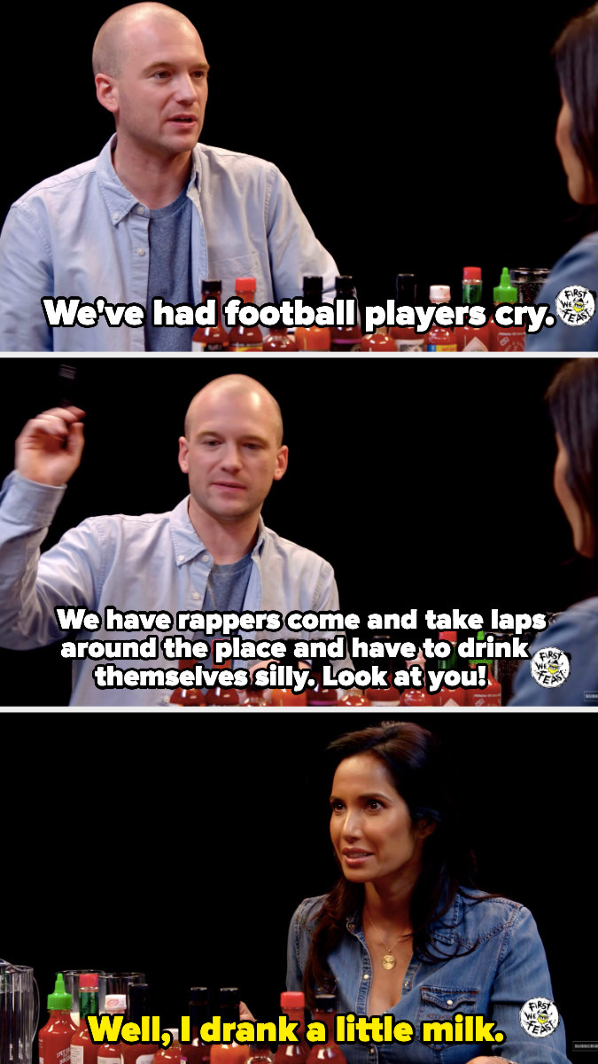 Sean saying Padma is performing better than many of the football players and rappers they have on the show