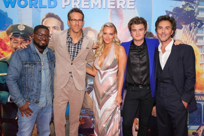 Lil Rel Howery, Ryan Reynolds, Camille Kostek, Joe Keery, and Shawn Levy are pictured at the Free Guy premiere in New York City
