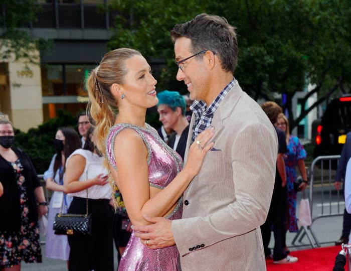 Blake Lively and Ryan Reynolds are photographed at a Free Guy premiere event in New York City