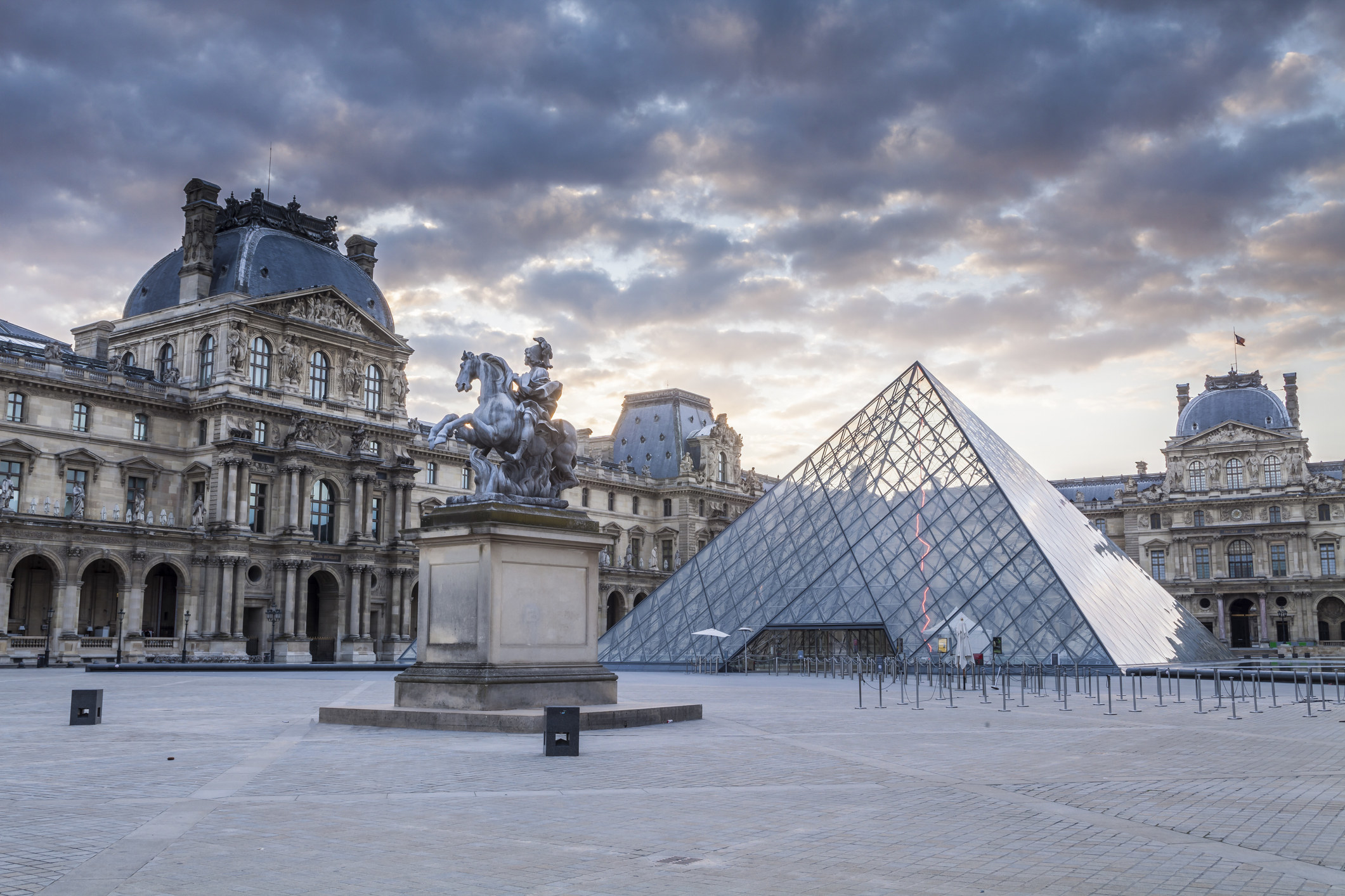 The outside of the Louvre in Paris.