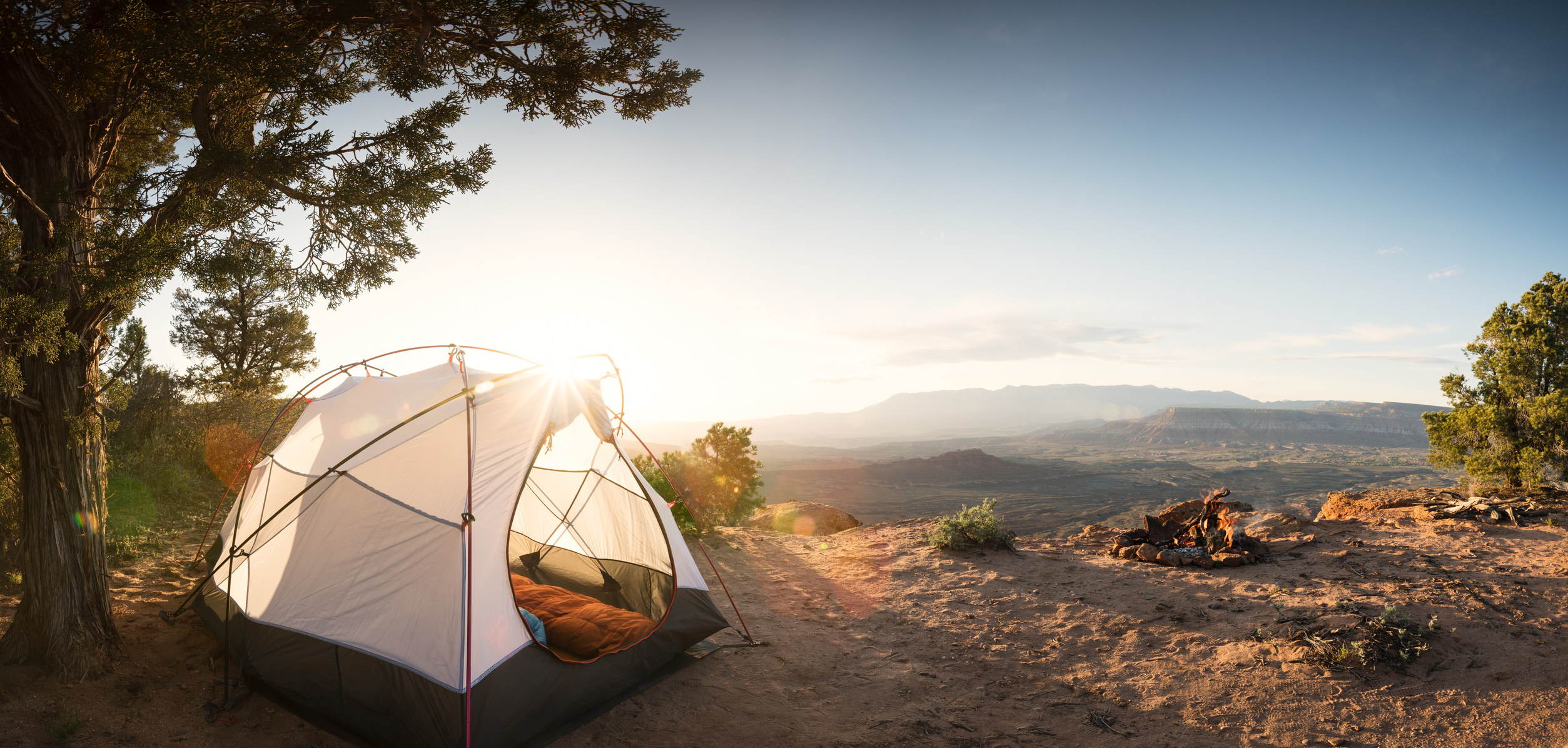 A tent in the desert.
