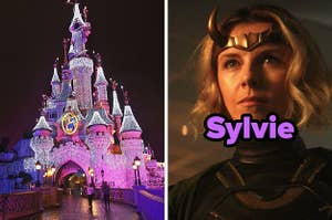 disneyland castle completely lit up, next to sylvie from loki show