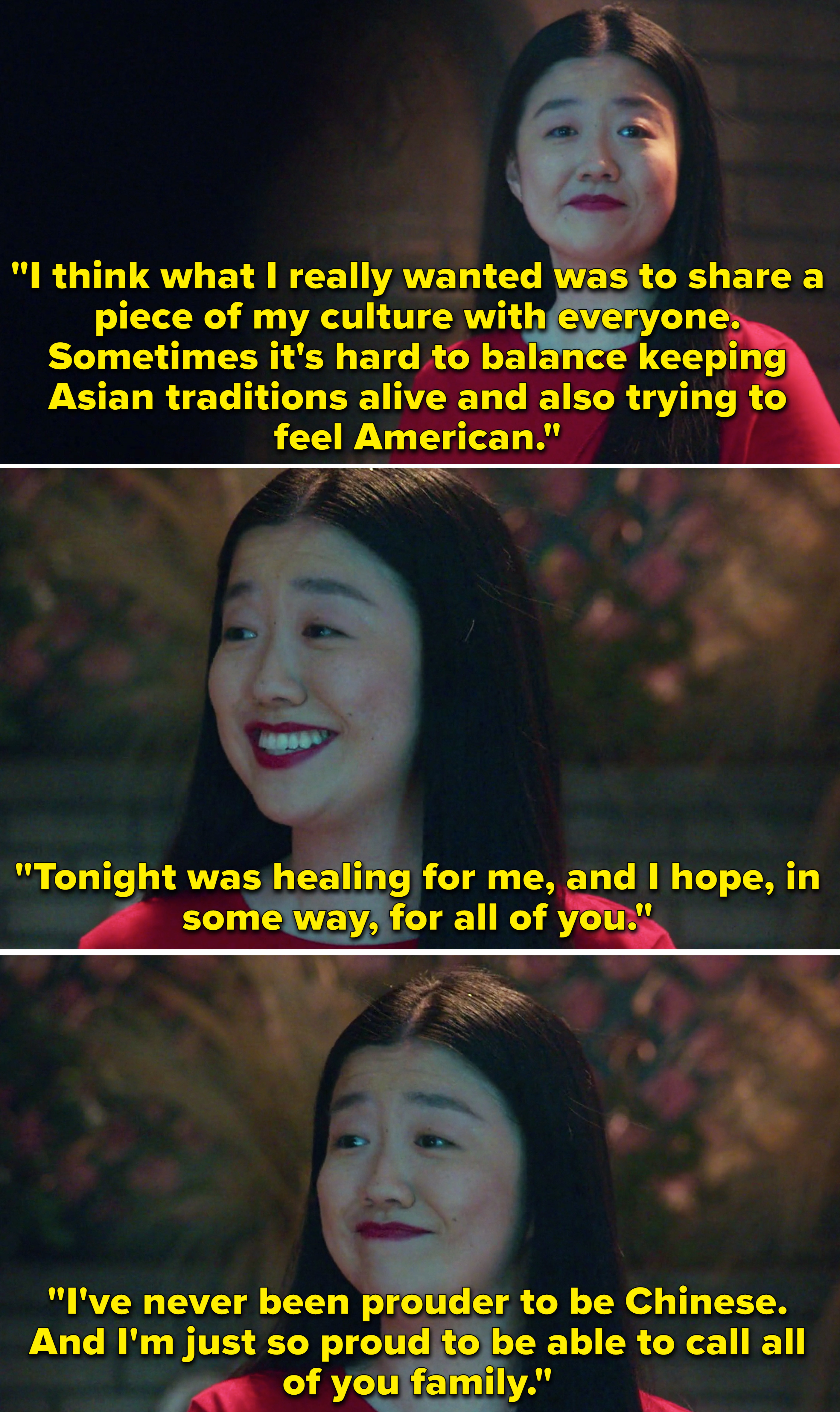 """Alice saying how she's proud to be Chinese and proud to be able to call all of her friends """"family"""""""