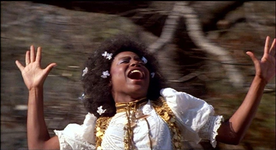 woman with an afro filled with butterfly clips sings while in a forest