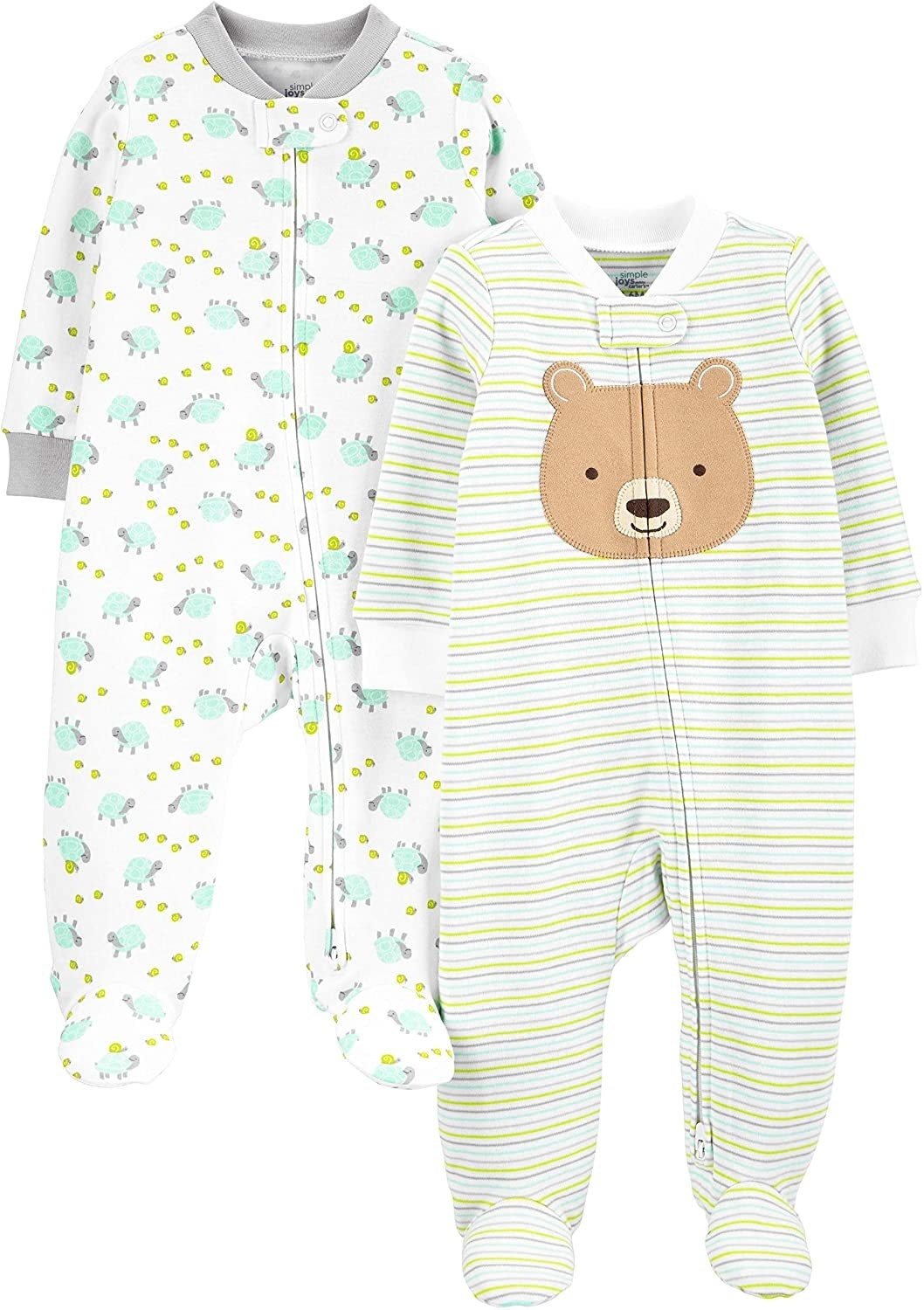 Two baby sleepers in bear and turtle print