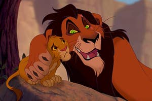 """Scar from """"The Lion King"""" putting a paw around a concerned baby Simba"""