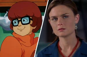 Velma smiles over her shoulder to someone off screen and a close up of Temperance Brennan looking confused