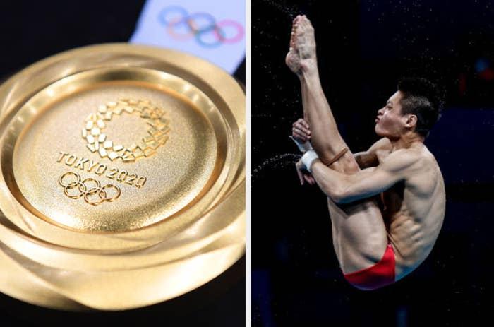Tokyo gold medal and diver
