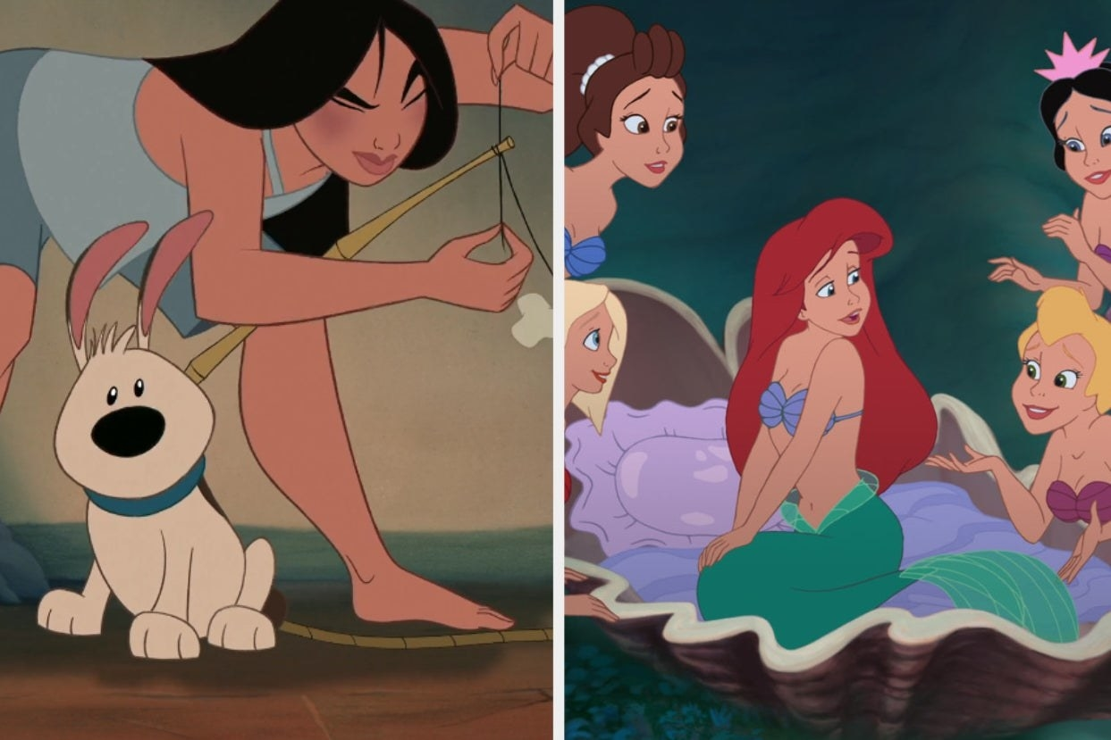 Mulan with her dog and Ariel with her sisters