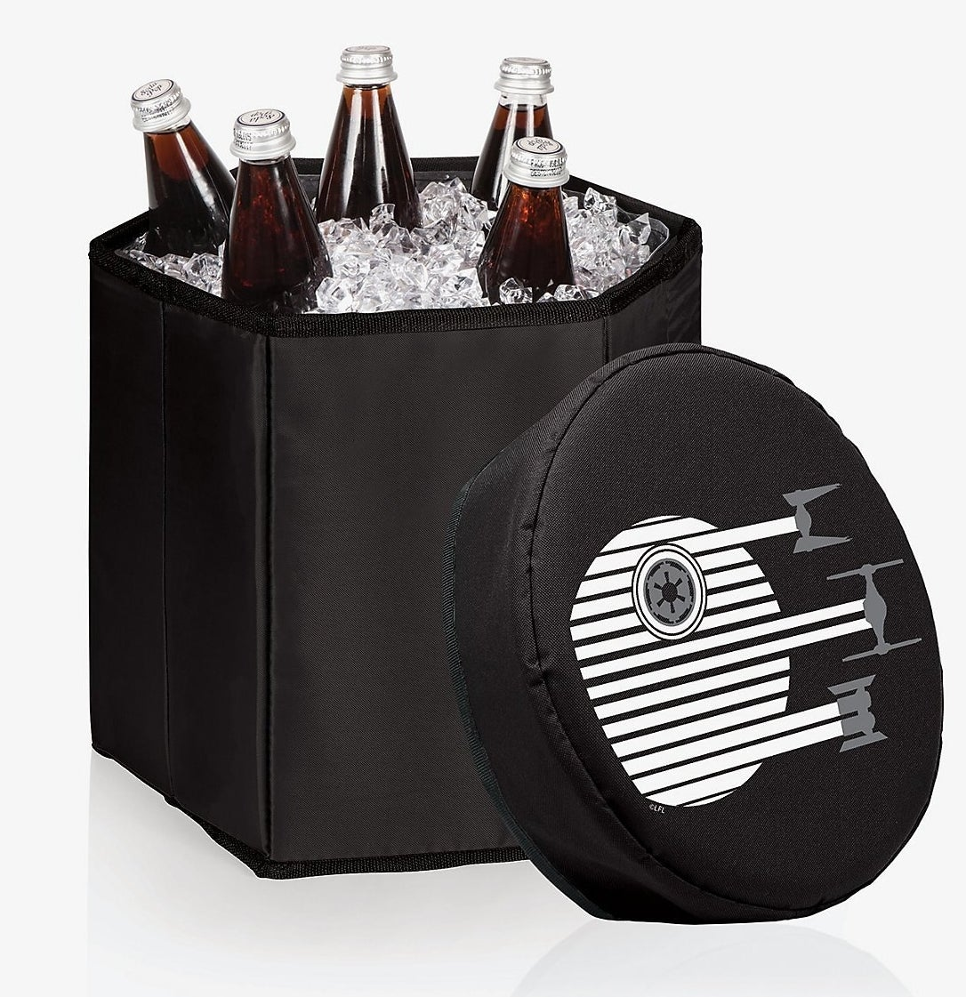 padded cooler with minimalist death star logo on the lid