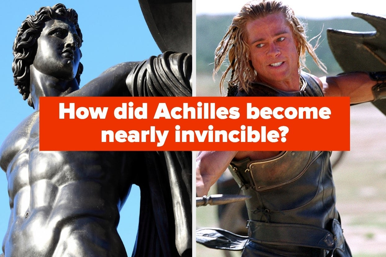 A statue of Achilles next to a screenshot of Brad Pitt as Achilles in Troy with text asking how Achilles became nearly invincible