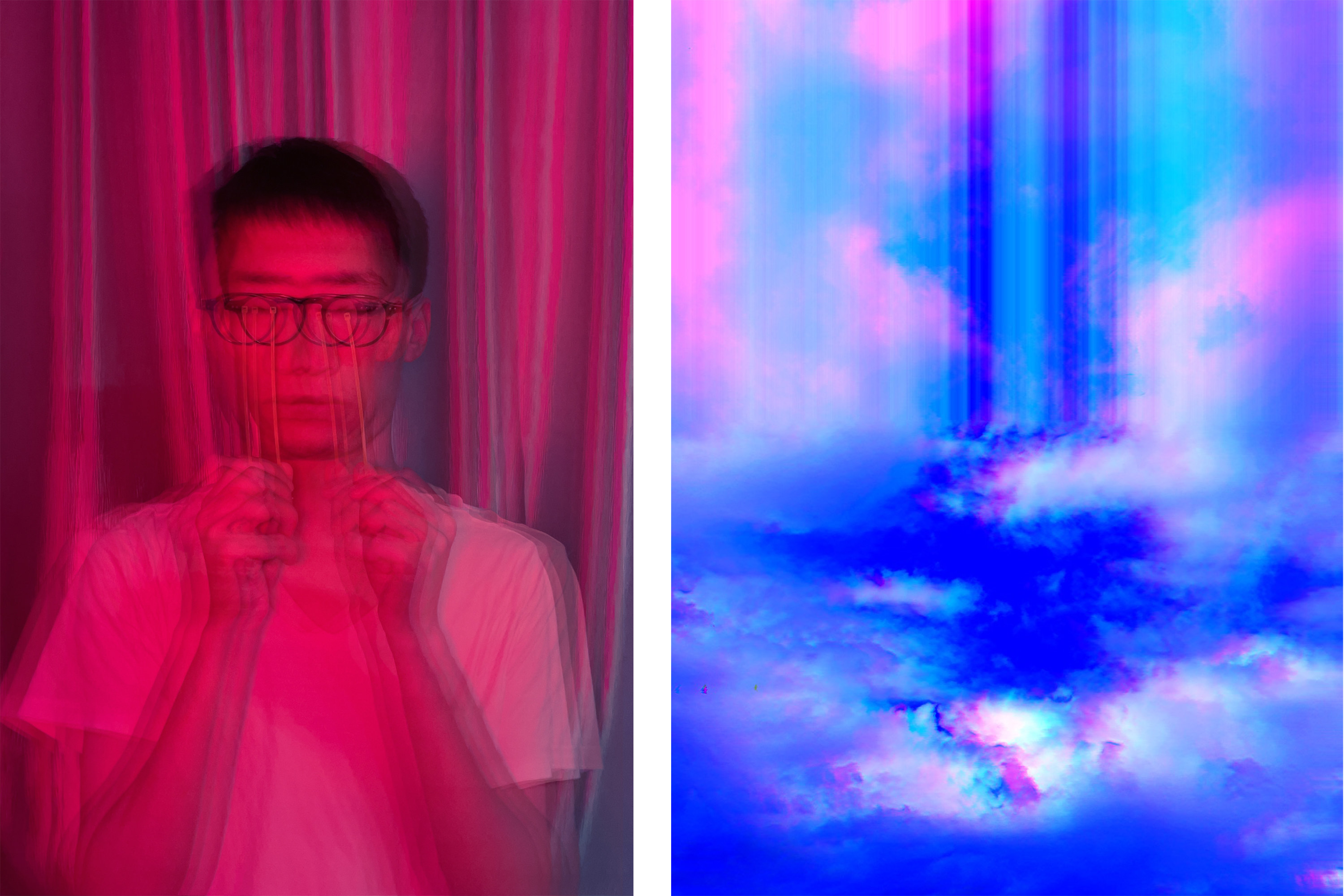 Two side-by-side photos show a blurry person holding up pencils in front of their eyes and spectral light through the clouds