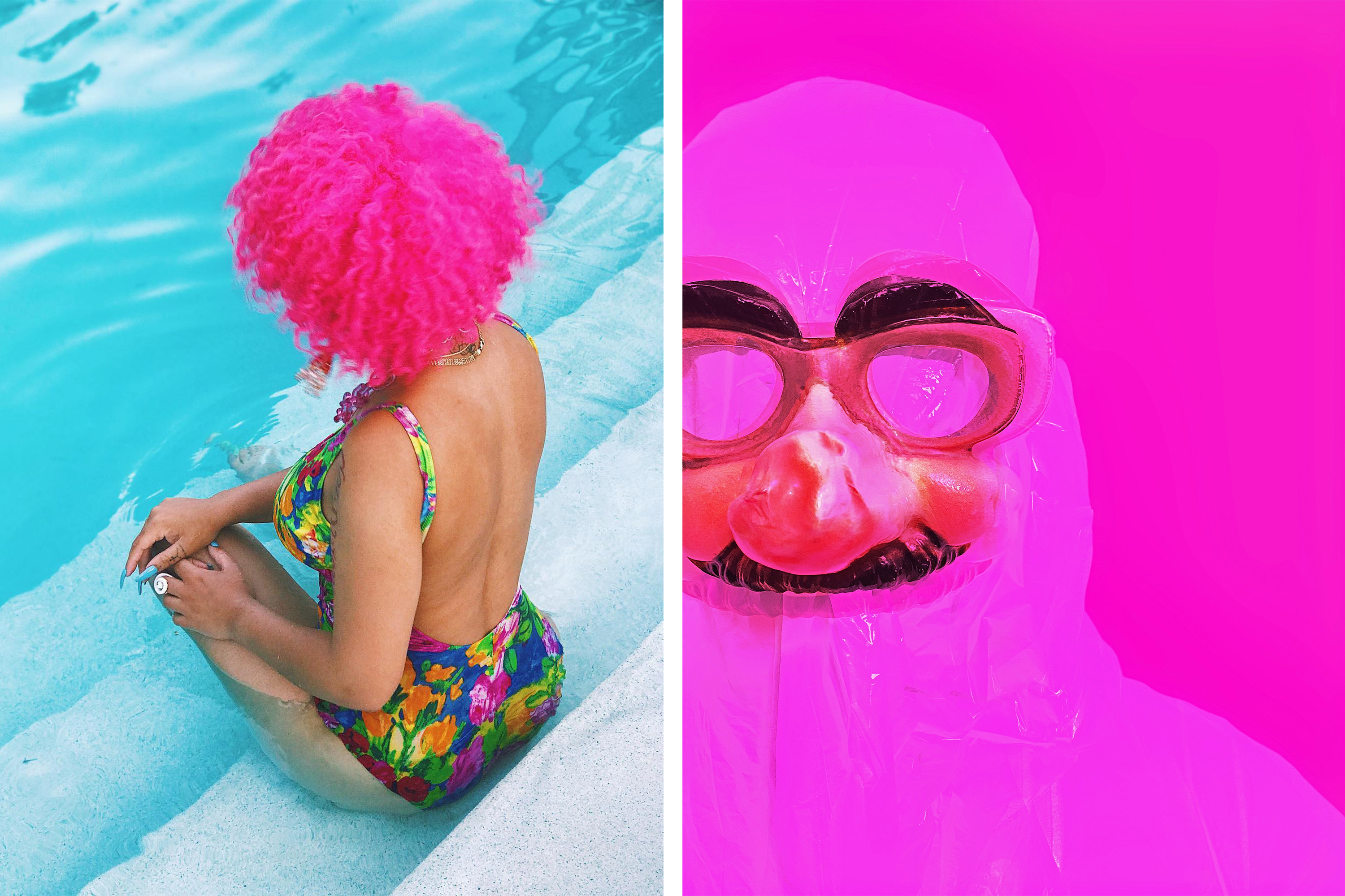 Two side-by-side images show a woman seated in a pool with a floral bathing suit and a wig, and a person in full-body plastic wrap, wearing glasses and a fake mustache