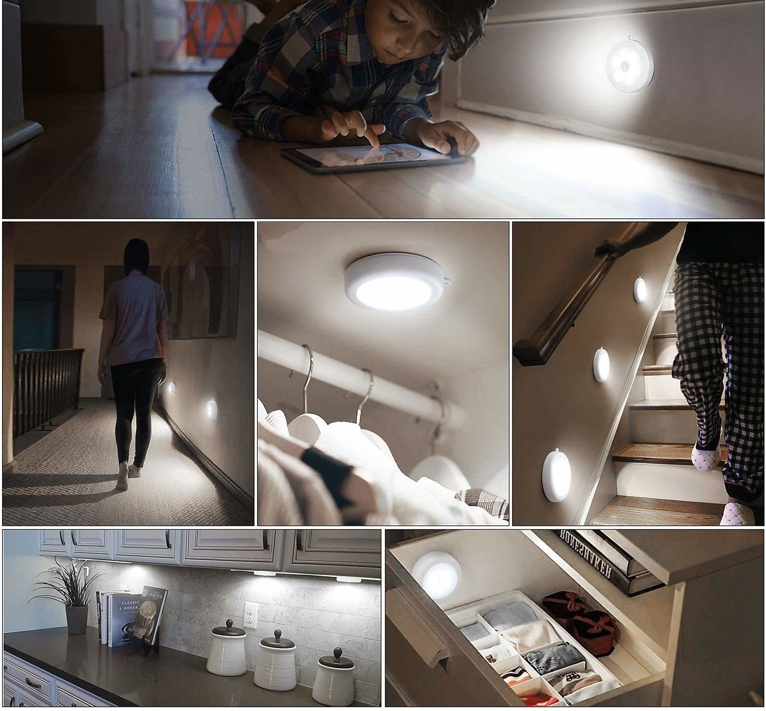 A collage of different places in a house lit by motion-sensing LED lights