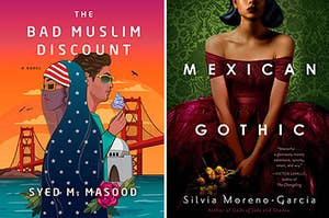 """(left) cover for """"The Bad Muslim Discount"""" by Sued M Masood; (right) cover for """"Mexican Gothic"""" by Silvia Moreno-Garcia"""