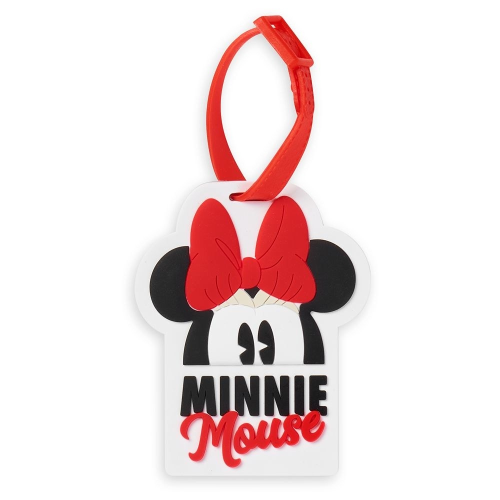 The luggage tag with Minnie Mouse's name on it