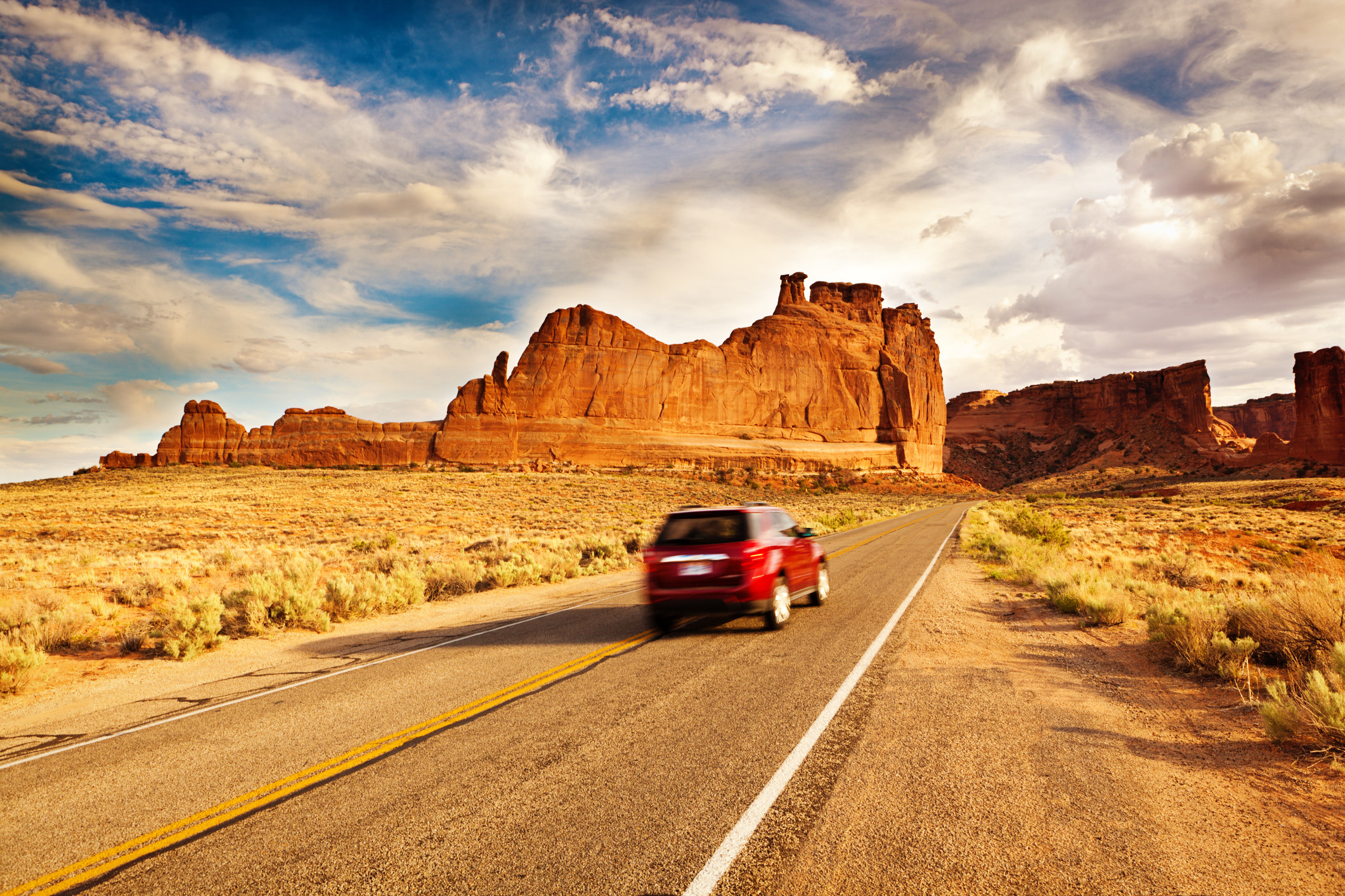 A car driving to a National Park