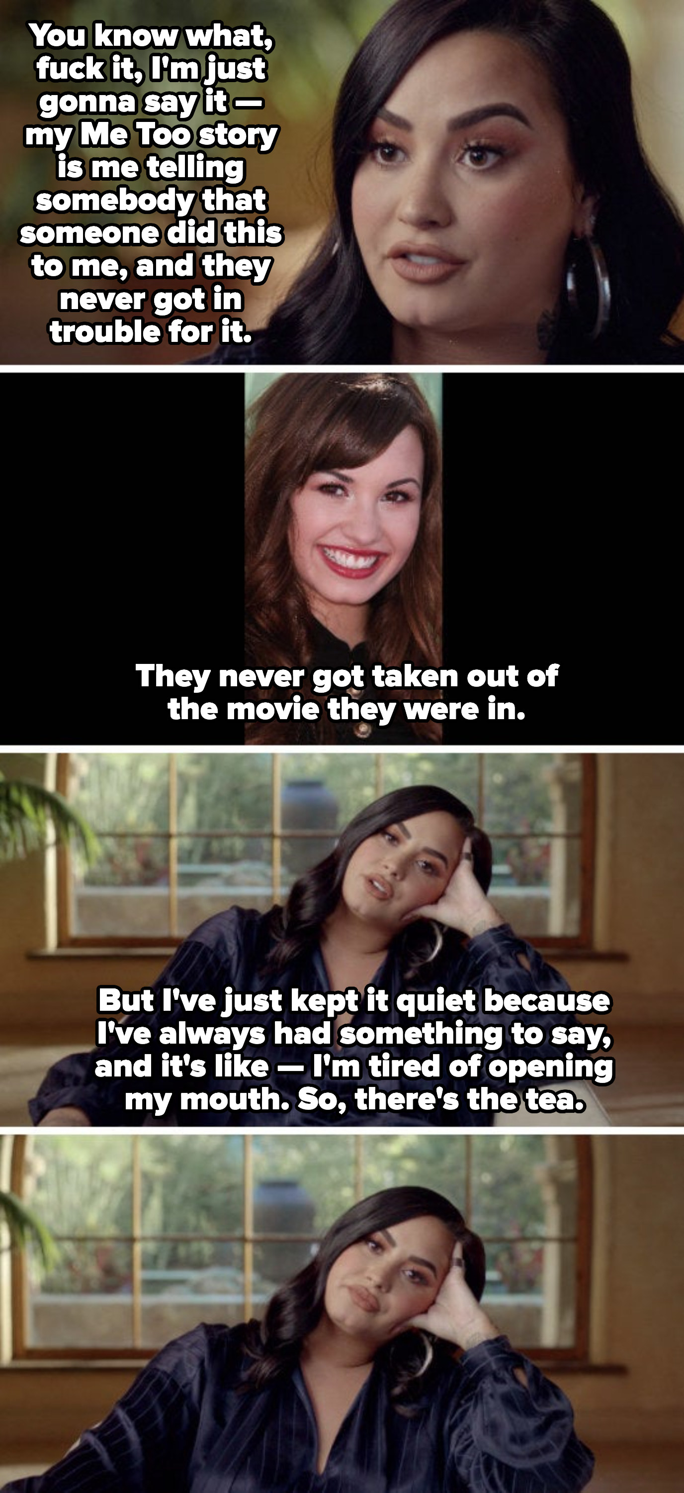 """Demi Lovato talking about being raped and their Me Too story, saying: """"My Me Too story is me telling somebody that someone did this to me, and they never got in trouble for it"""""""