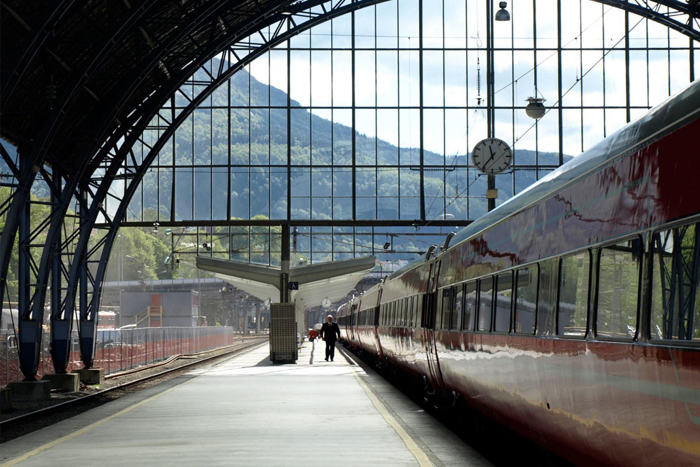A train going through a station.