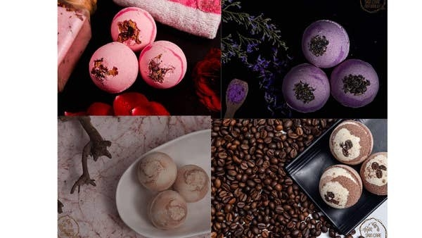 A collage showing the four bath bombs in the scents rose, lavender, chocolate and coffee