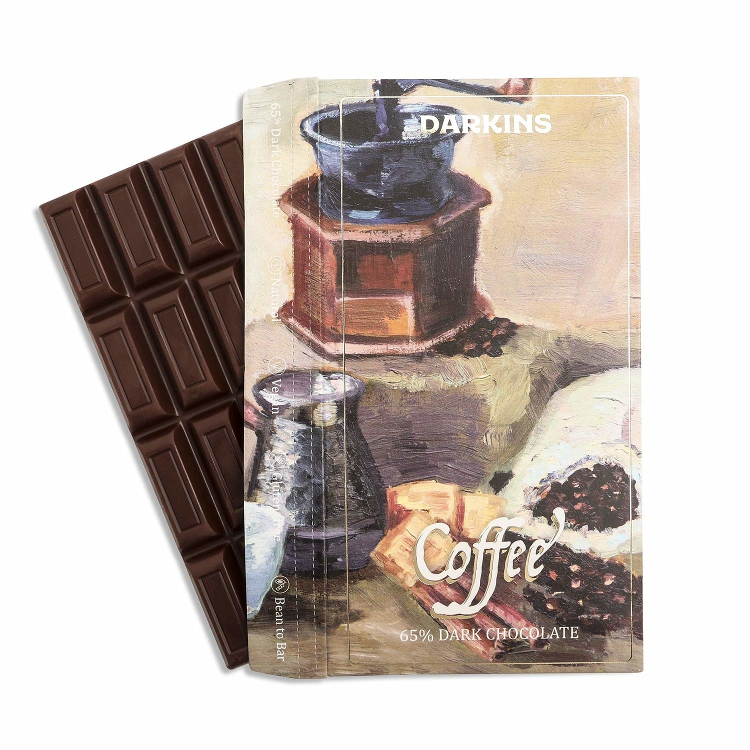 The dark chocolate with a beautiful water colour illustration of a coffee machine and coffee beans on it