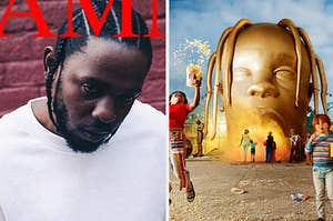 A Kendrick Lamar album cover is on the left with Travis Scot cover on the right