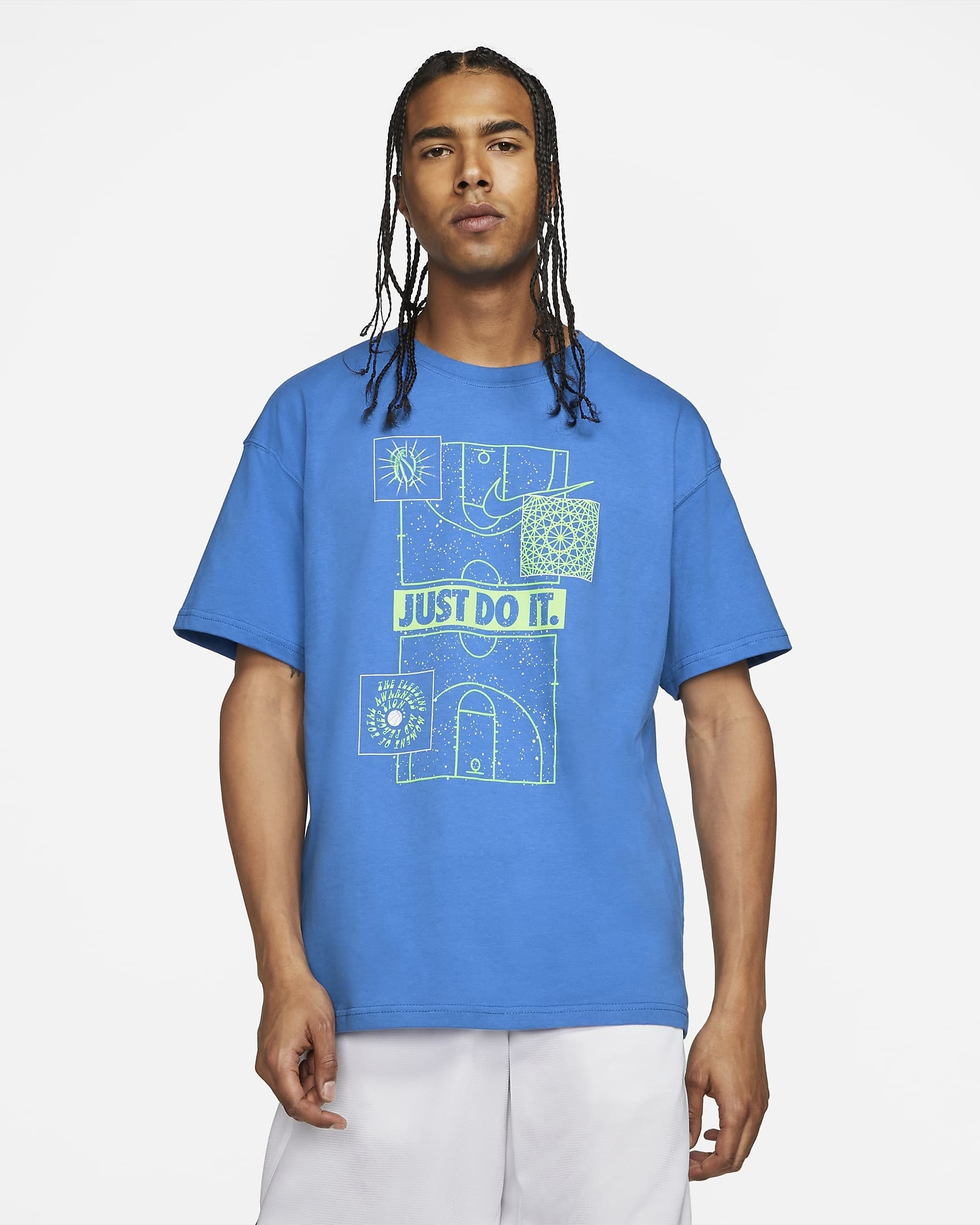 model wearing the t shirt with slogan just do it on the chest