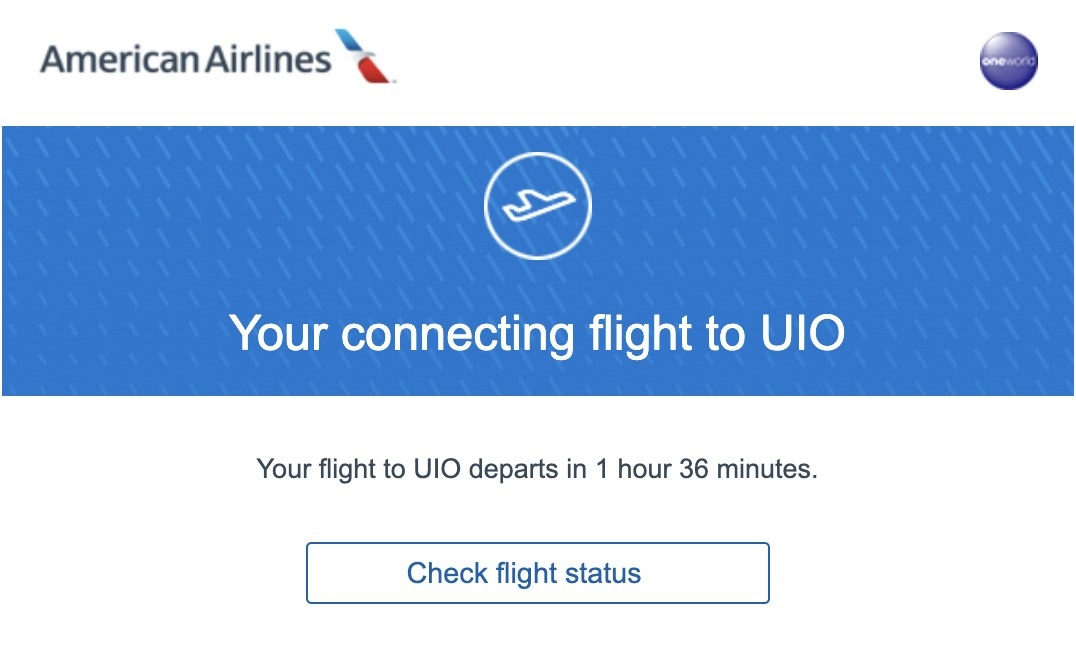 Screenshot of connecting flight information