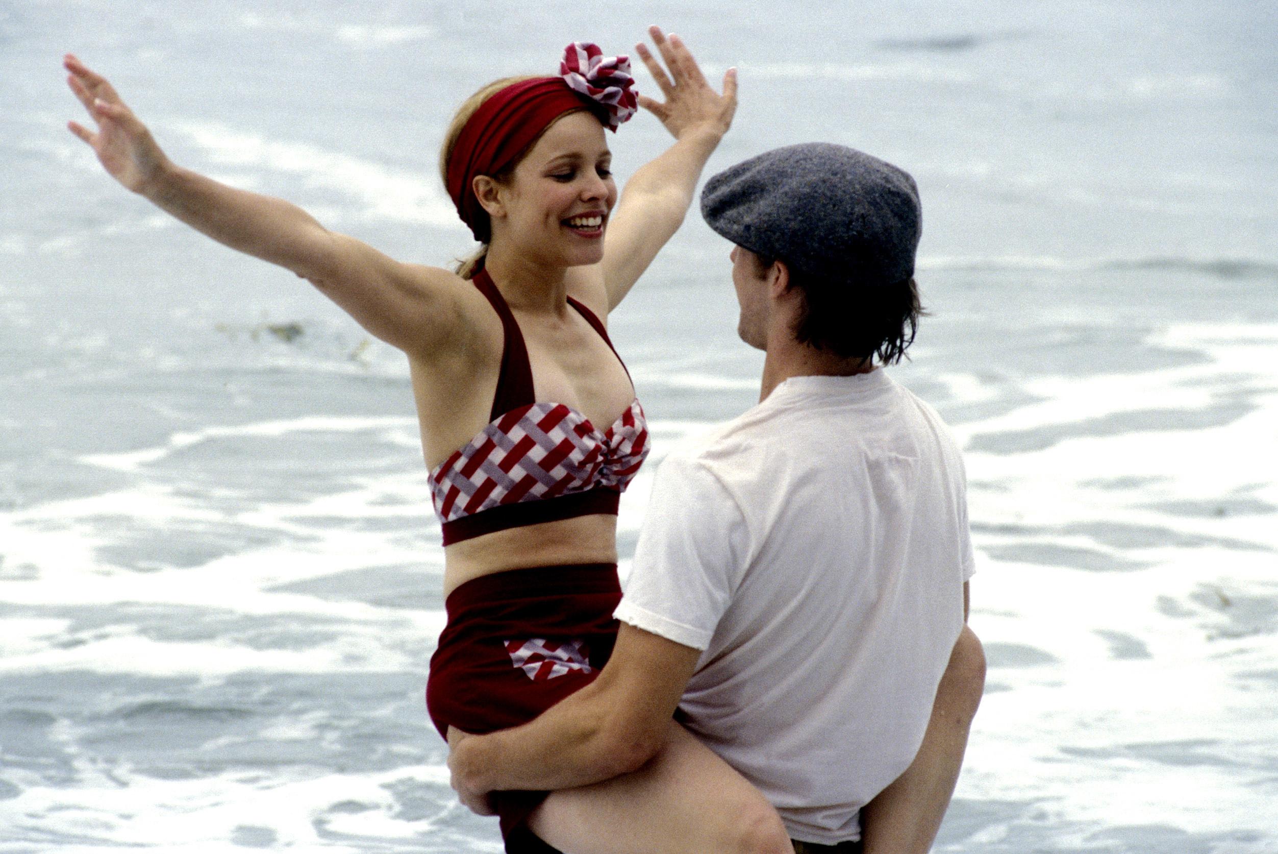 Allie's vintage gingham bikini and Noah's paperboy cap