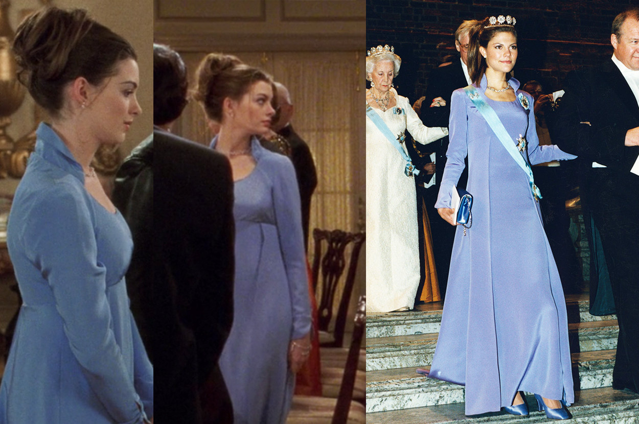 the stately gown Mia wore to a formal dinner with the queen is modeled after Princess Victoria's long-sleeved, collared gown