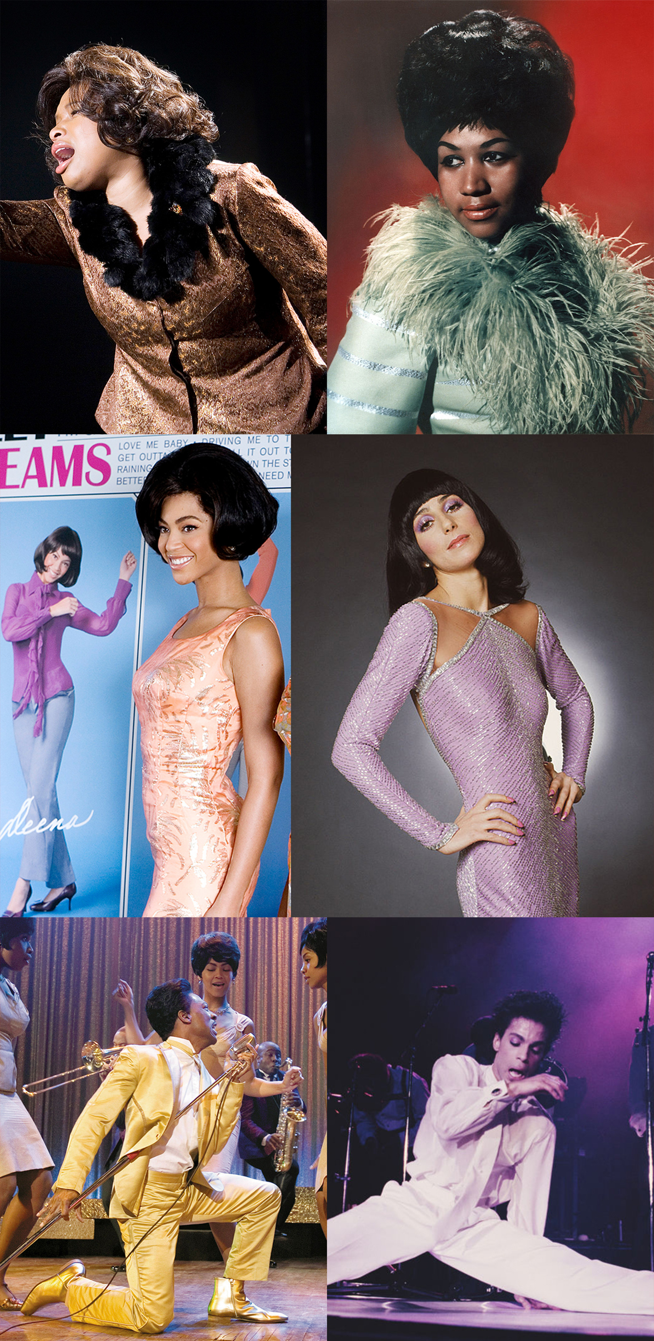both Jennifer Hudson and Aretha Franklin wear fluffy collars, Beyoncé and Cher have slinky dresses, and Eddie Murphy and Prince have snazzy suits